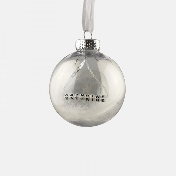 White Feather Personalised Bauble